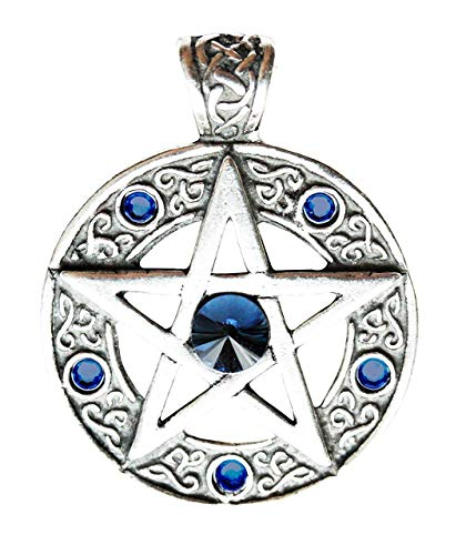 Celtico Pentagramma - Ciondolo Pendente Collana per forza di volontà e Successo - celtico e Vichingo gioielleria in senza piombo Peltro e argento, Decorato con cristalli Swarovski
