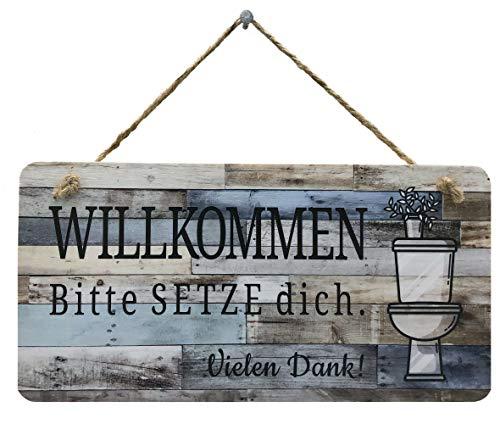 Bad Deko Schild für die Toilette | Im Sitzen Pinkeln Lustiges WC Schild für Gäste WC oder als Einzugsgeschenk | Bitte Setzen Toilettenschild WC Deko im Badezimmer (Pflanze-blau, 30 x 15 cm)