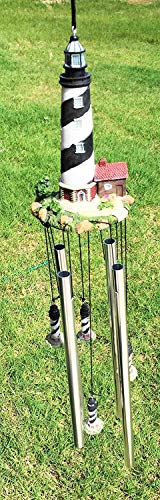 Ebros Cape Hatteras Barrier Island Black and White Spiral Bands Lighthouse Hanging Garden Patio Wind Chime with Aluminum Rods and Miniature Resin Light House Decorative Mobile Sculptures