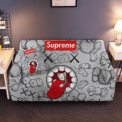 HTEZGDB Universellt sofföverdrag stretch sofföverdrag soffa armskydd skydd skydd skydd mjukt och bekvämt, skydda soffan tecknad skurk, grå 4-sits: 235-300 cm