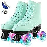 YIKUN Women Men Roller Skate Shoes,PU Leather High-Top Double-Row 4 Wheel Roller Skates for Beginner, Indoor Outdoor Roller Skates with Shoes Bag,Flash,35EU