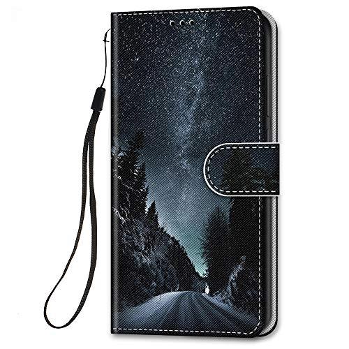 HopMore für Samsung Galaxy S21 / S30 Lederhülle, Handyhülle Samsung S21 Klapphüllen mit Tasche Klappbar Flip Hülle Motiv Schutzhülle PU Ledertasche Stoßfest Silikon Cover [Standfunktion] - Himmel