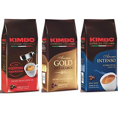 Kimbo ganze Kaffeebohnen Set 1 x Espresso Napoletano, 1 x Gold 100% Arabica und 1 x Aroma Intenso, drei 1kg Beutel