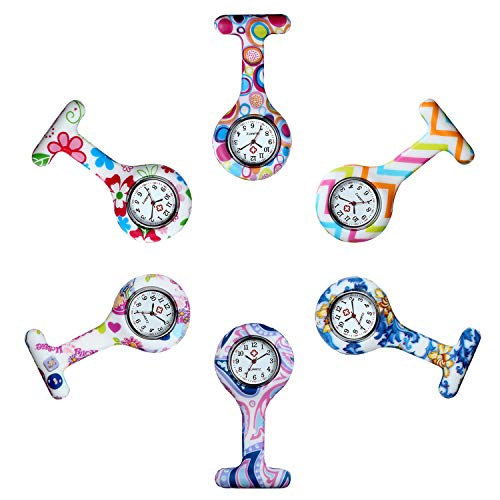 Avaner Reloj de Enfermera Silicona 6 Piezas Reloj Médico de Colores, Redondo Reloj Prendedor de Broche de Túnica de Paramédico Doctor, Reloj de Bolsillo