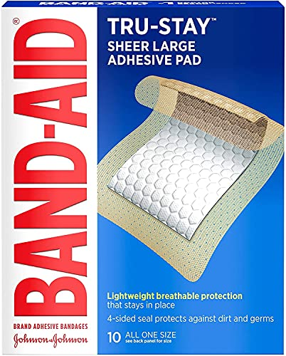 Adhesive Pads, Large Sterile Bandages for Wound Care, Large Size, 1 Pack of 10 ct