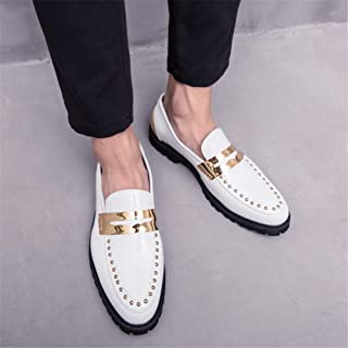 2019 Mens New Lace-up Flats Men's Casual Personality Stitching Rustproof Rivet Decoration Formal Shoes Fashion Oxford