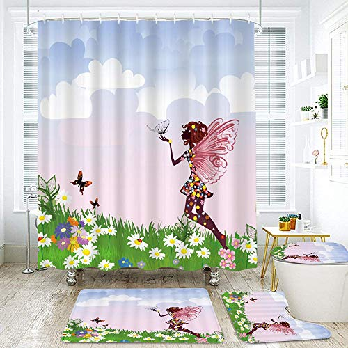 MEJAZING Shower Curtain Sets with Non-Slip Rugs,Toilet Lid Cover and Bath Mat,Floral Woman Silhouette Butterfly Wings Daisy Poppy Hibiscus Hairstyle Waterproof Bath Curtains Hooks Included