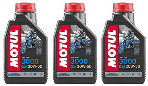 RS Motul 3000 4T 20W50 Aceite mineral para motor de motocicleta, Road V-Twin, Harley Davidson, 3 litros