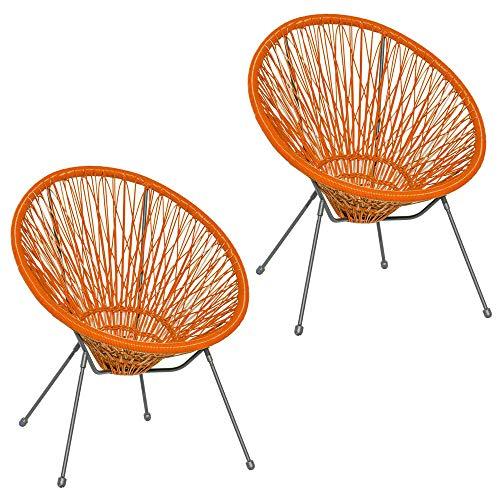 Pack de 2 sillones de jardín Agave Acapulco de rattán y Metal Naranjas de 73x80x85 cm - LOLAhome