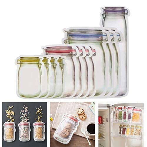 GUAGLL 10Pcs Portable Sealed Transparent Food Storage Bag Picnic Travel Snack Moisture-Proof...