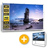"HD 4K Projector Screen 120"" 16:9 with Space Saving Stand, High Resolution Projection Screen for Indoor Outdoor Parties Home Theater School Gaming & Movie Night, Wrinkle-Free, Free Bag Included"