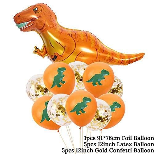 Feestartikelen Dinosaur Ballonnen Papier Rietjes Wegwerp Servies Set Kids Jongen Verjaardag Partij Decoratie Jungle Feest, 11 stks Ballon