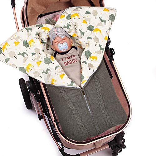 Baby Swaddle Blanket Stroller Wrap,Soft Thick Fleece Warm Blanket Newborn Sleeping Bag for 0-12 Month Boys Girls (Gray 02)