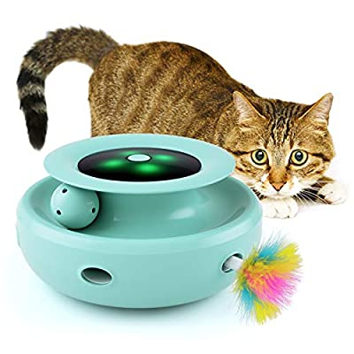 Jionchery Cat Toys for Indoor Cats Interactive Feather Toy Electronic Smart Random Rotating Pet Teaser Ball Tracks Toy with Colorful LED Lights for Kittens Funny