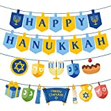 Happy Hanukkah Decorations Paper Banners - Holiday Chanukah Party Supplies Favors