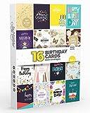 16 x Joy Masters™ Geburtstagskarten 5. Auflage | HAPPY BIRTHDAY Alles Gute zum Geburtstag + Umschläge und 100 Ideen für Glückwünsche