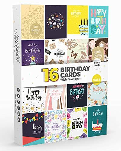 16 x Verjaardagskaarten Multipack Vol.5 van Joy Masters met gratis enveloppen & 100 berichtvoorbeelden!
