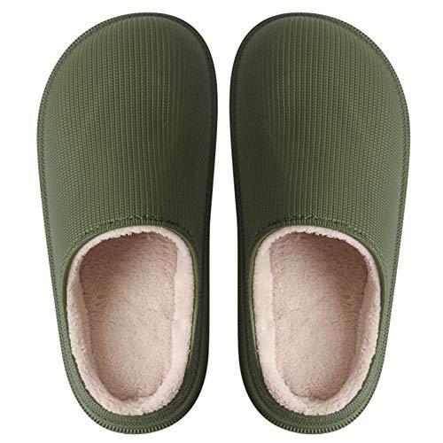 DALLL Winter Hausschuhe Herren Damen,Bequeme Pantoffeln Für,Utschfeste Outdoor/Indoor,Wasserdicht,Zwei Warme Materialien,Grün,6.5/7(M)