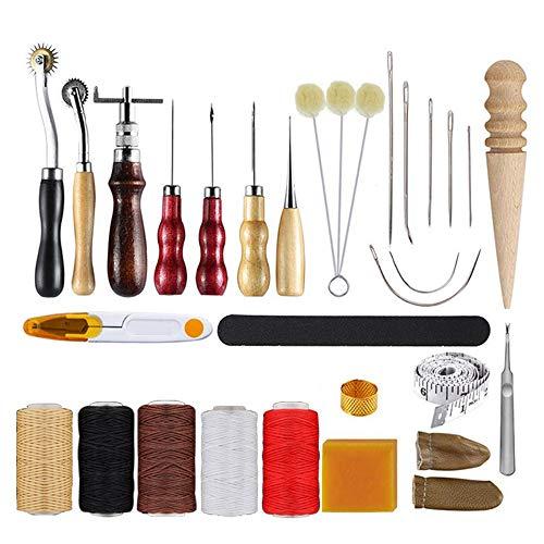 Kit de herramientas de cuero de 30 piezas Herramientas de trabajo de cuero Kit de reparación de costura de cuero básico Agujas de coser a mano Punzón para zapatos de cuero Bolsa Cinturón Reparación