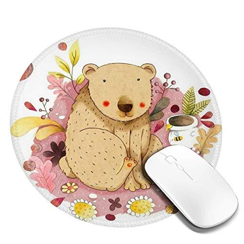 7.9x7.9in ronde muismat bureau beer in de tuin met honing pot toetsenbord mat grote muismat voor computer desktop laptop