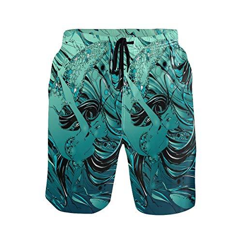 Sawhonn Cuento De Sirenas Mito Peces Bañador para Hombre Pantalones Cortos Bañadores Shorts para Hombres Natacion Piscina Surf Playa