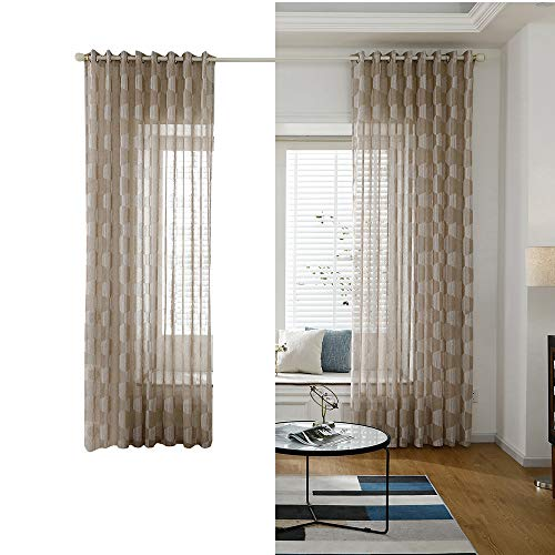 Decdeal Window Curtains Sheer Voile Window Curtain with Ring Rod for Kitchen Bedroom and Living Room