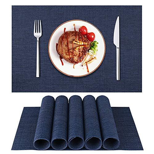 LifeWEAR Mantel individual, tejido de vinilo, antideslizante, lavable, color azul oscuro, 6 unidades