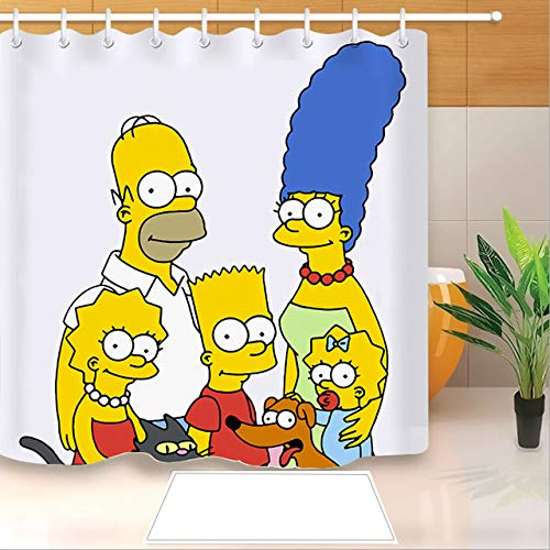 FANG2018 Hochwertiger Anime Die Simpsons 3D-Druck Duschvorhang Polyester Stoff Badvorhang Wasserdichter Haken Badvorhang