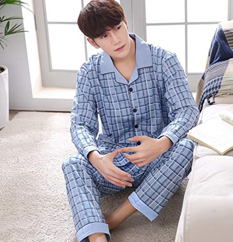 DFDLNL Herbst Winter Lounge Anzug Männer Plaid Pyjama Sets Langarm Pyjama Topman Sky Blue Herrenbekleidung XL