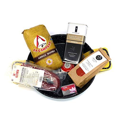 Präsent-Korb PAELLA mit Reis, Olivenöl, Gewürzen, Chorizo, Reis | Geschenkkorb