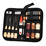 RUIYIQI Leather Craft Tool Kit 26 PCS Hand Stitching Tool Set Upholstery Repair Kit with 12 Sewing Needles, 5 Waxed Thread, Tape Measure and Thimble for Leather Repair (Carrying Bag Included)