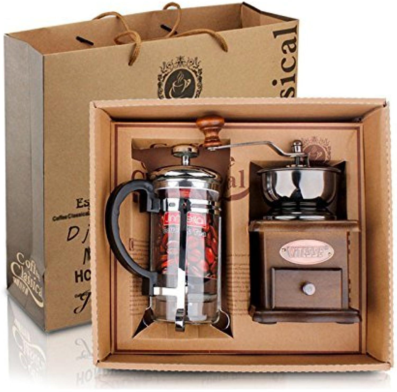 DeFancy Vintage Style Manual Coffee Grinder Hand Grinder & French Press Coffee tea Maker Set in Gift Package