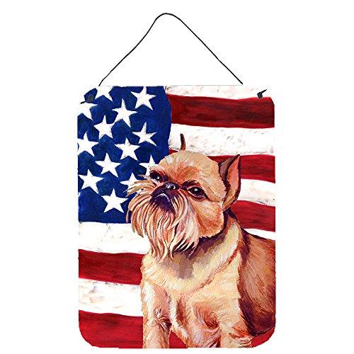 Caroline 's Treasures lh9023ds1216USA Amerikanische Flagge mit Brussels Handgriffon Wand oder Tür Aufhängen Prints, 40,6x 30,5cm Multicolor