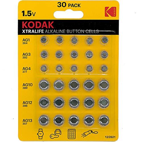 Kodak Xtralife Alkaline Knopfzellen AG1 364 AG3 392 AG4 337 AG10 389 AG12 386 AG13 357 30 Stück