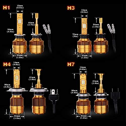 BAN SHUI JU MINSU GUANLI H1 H3 H4 H7 LED H8 / H11 H16 (JP) 9005 9006880881 Auto Bombilla Faros 6000K Luz Faros Antiniebla Lámparas De Conducción Fácil Instalación (Socket Type : H3)