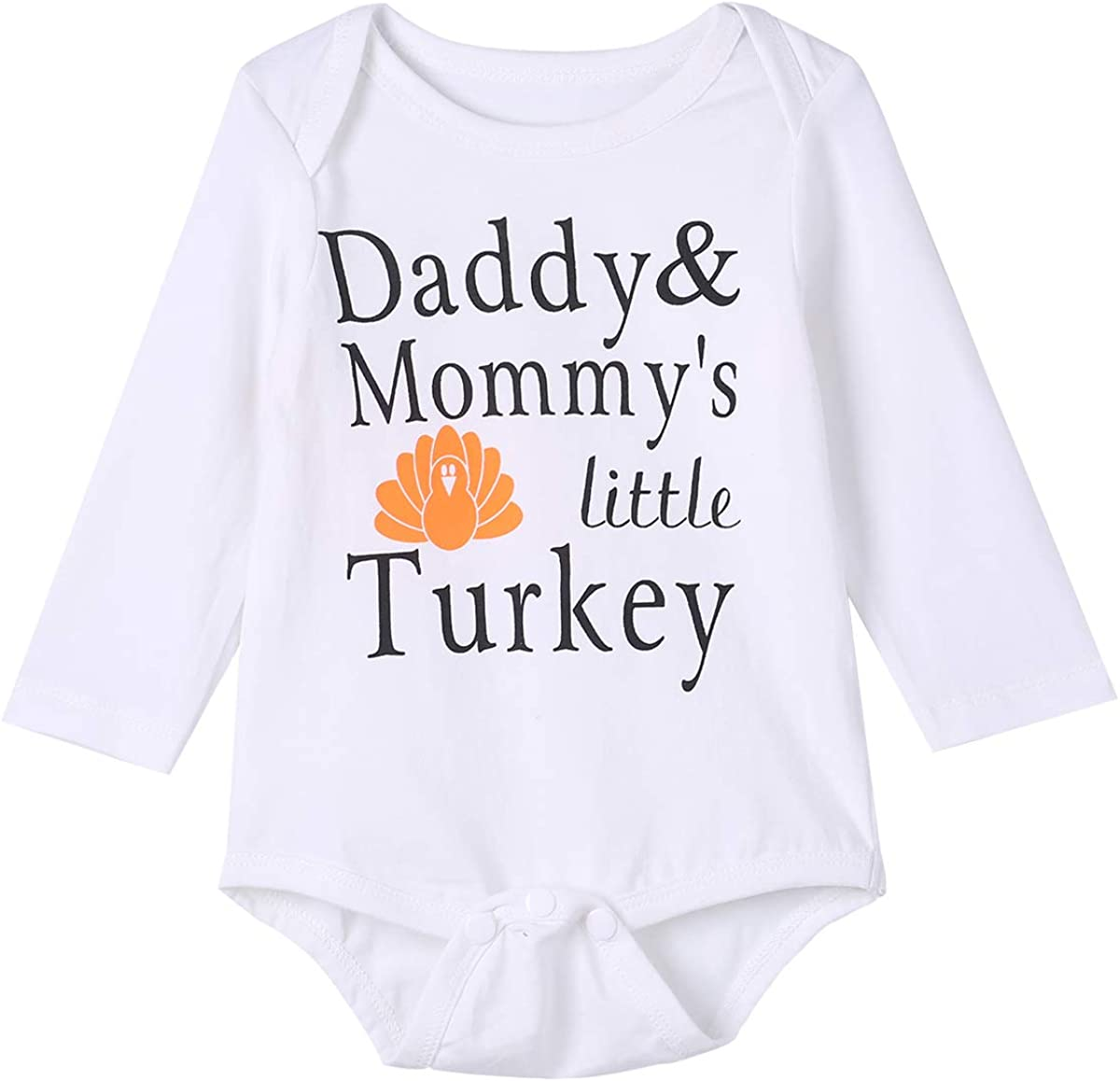 Baby Boys Girls Thanksgiving Outfit Daddy Mommys Little Turkey Clothes Set