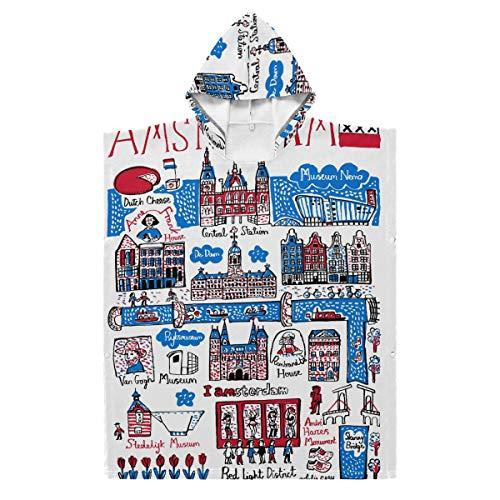 LORONA Kids Teens Polyester-Katoen Blend Artwork Amsterdam Strandhanddoek Mantel Dekbed Draagbare Hooded Deken Hoodie Mantel