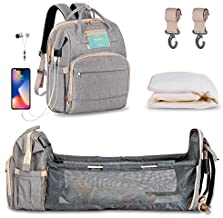 Diaper Bag Backpack with Extendable Folding Crib?HOMITY Baby Bag For Girls Boys With Changing Station,USB Charge Port,Large Capacity,Waterproof(Grey)