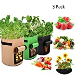 Joykoo Potato Grow Bags, Planter Bag 7 Gallon, Garden Bags for Vegetable, Fabric Planting Pots with Handles, Potato Planter Bag with Access Flap for Potatoes Tomatoes Carrot Onion (3 Pack- Multi)