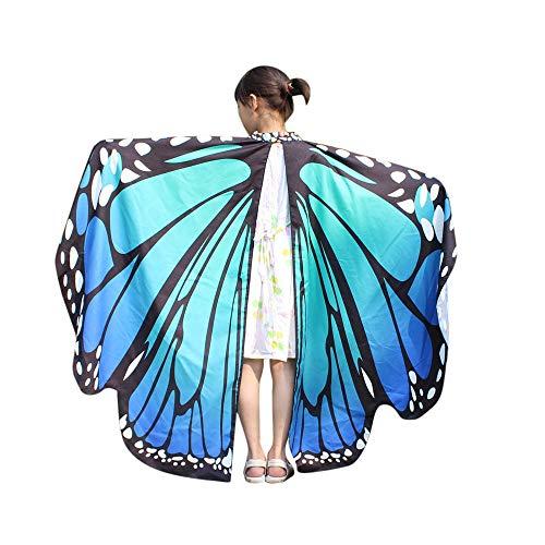 WOZOW Damen Schmetterling Kostüm Fasching Schals Nymphe Pixie Poncho Umhang für Party Cosplay Karneval Fasching (Blau)