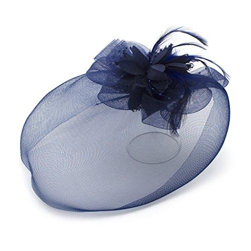 HAND Feather Mode Ladies Perle Fleur détaillée et Mesh Ascot/Derby Day Fascinator Chapeau Coiffe - Bleu Marine