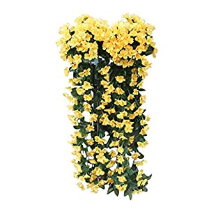 Juesi Hanging Flowers Artificial Violet Flower Wall Wisteria Basket Hanging Garland Vine Flowers Fake Silk Orchid (Yellow)