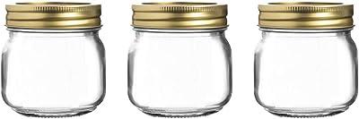 HOMIES INTERNATIONAL Set of 3 Mini Preserve Vintage Glass Jar, 300ml, Transparent