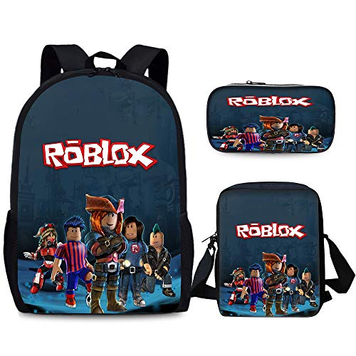 Roblox Classic Wild 3D Backpack Schoolbag Children Backpack Shoulder Bag Zipper Pen Bag 3 Pieces/Set Boys and Girls Students Waterproof Lightweight Travel Backpack Kids