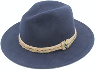 SHENTIANWEI Men Women Wool Fedora Hat with Belt Dance Party Hat Casual Wild Jazz Hat Panama Church Hat Size 56-58CM