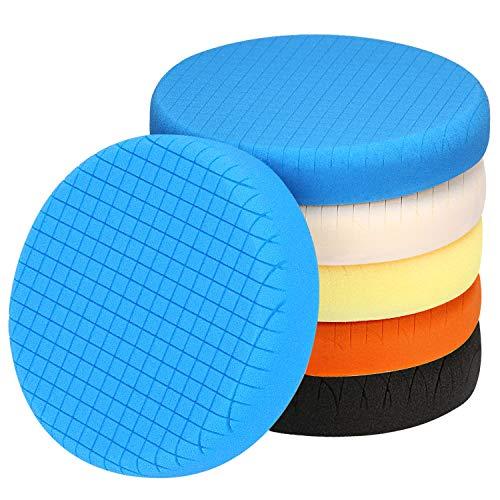 "5.5"" Face for 5"" Backing Plate Compound Buffing Sponge Pads Foam Polishing Pads Kit 5.5 Inch Waxing Pads kit for Car Buffer&Boat Polisher Polisher Polishing,Waxing,sealing glaze"
