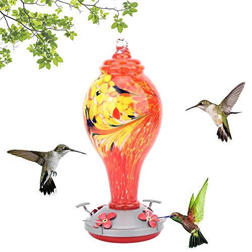 Oumefar Bunter Vogelhäuschen Vogelbedarf Abnehmbarer Behälter Ungiftiges Glas zum Dekorieren des Hauses zum Aufhängen des Hakens(T1)