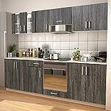 MUSEVANE 8-TLG. Küchenzeile Set mit Dunstabzugshaube Wenge-Optik