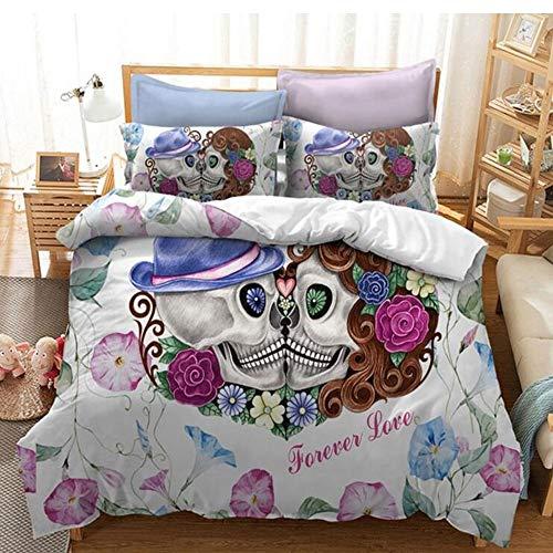 DaMai's Home Unieke persoonlijkheid Teens 3 stuks dekbedovertrekset dekbedovertrekset bloemenschedel pak geschikt voor slaapkamer logeerkamer vakantiehuis 100% polyester