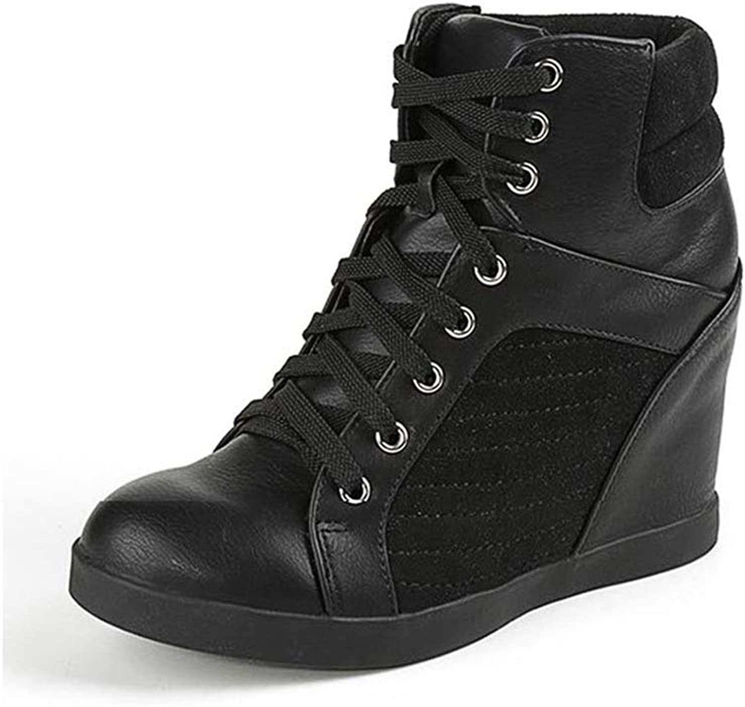 High top Wedge Sneakers Women Hidden Heels Casual Walking shoes Height Increasing Lace-up Boots